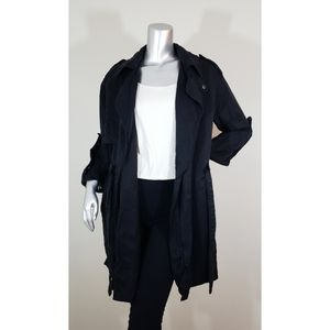 Zara Woman Black Anorak Trench Jacket